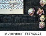 white pink dried roses and gift ...   Shutterstock . vector #568763125