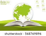 globe on opened book. the... | Shutterstock .eps vector #568769896