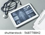 white tablet pc and doctor... | Shutterstock . vector #568778842