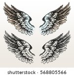 hand drawn wings in tattoo style | Shutterstock . vector #568805566