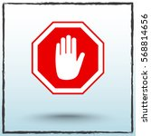 no entry hand sign icon  vector ... | Shutterstock .eps vector #568814656