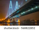 cable stayed bridge across the... | Shutterstock . vector #568822852