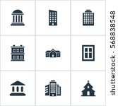 set of 9 simple architecture... | Shutterstock .eps vector #568838548