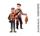 two hunters  one modern ... | Shutterstock .eps vector #568843858