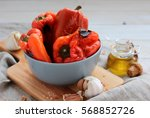 roasted red sweet peppers | Shutterstock . vector #568852726