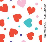 seamless hearts and dots... | Shutterstock .eps vector #568868632