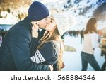 kissing couple  girls and boy... | Shutterstock . vector #568884346
