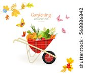 retro garden wheelbarrow with... | Shutterstock .eps vector #568886842