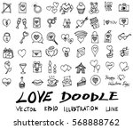 love doodle icon set isolated ... | Shutterstock .eps vector #568888762