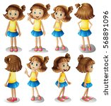 girl character in different... | Shutterstock .eps vector #568891096