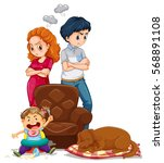 parents get angry with kid... | Shutterstock .eps vector #568891108
