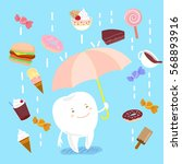 cartoon teeth holding umbrella... | Shutterstock .eps vector #568893916