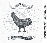 butcher shop vintage emblem... | Shutterstock .eps vector #568907302