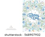 greeting card with cute blue... | Shutterstock .eps vector #568907932