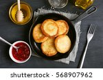 cheesecakes  curd cheese... | Shutterstock . vector #568907962