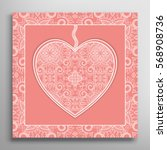 card or invitation with ornate... | Shutterstock .eps vector #568908736