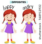 opposite wordcard for happy and ... | Shutterstock .eps vector #568913932