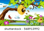 bees flying around the tree in... | Shutterstock .eps vector #568913992