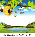 bees flying in the garden... | Shutterstock .eps vector #568914172