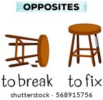 opposite words for break and... | Shutterstock .eps vector #568915756
