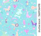 retro circus seamless vector...   Shutterstock .eps vector #568936498