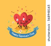 two happy hearts in love... | Shutterstock .eps vector #568948165