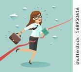 businesswoman run and cut the... | Shutterstock .eps vector #568950616