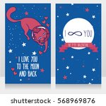 cosmic cards for love with... | Shutterstock .eps vector #568969876