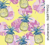 pineapple   vector illustration | Shutterstock .eps vector #568979932
