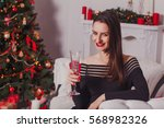 christmas portrait of a... | Shutterstock . vector #568982326