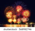 bright beautiful big fireworks... | Shutterstock . vector #568982746