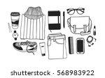 hand drawn fashion illustration.... | Shutterstock .eps vector #568983922