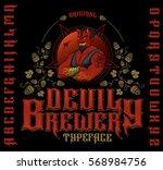 original devil brewery typeface.... | Shutterstock .eps vector #568984756