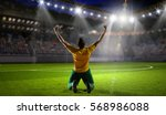 victorious soccer player .... | Shutterstock . vector #568986088
