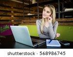 young student girl preparing... | Shutterstock . vector #568986745