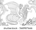 sexy queen riding a dragon for... | Shutterstock .eps vector #568987666