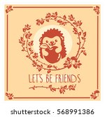 vector greeting card with cute... | Shutterstock .eps vector #568991386