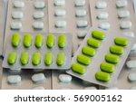 soft focus green yellow pills