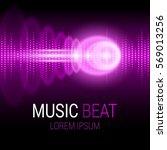 music beat. pink lights... | Shutterstock .eps vector #569013256