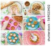 Small photo of Easter bird nests cookie with candy eggs , Easter recipe step by step