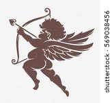 vector cupid silhouette.... | Shutterstock .eps vector #569038456