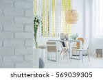 modern apartment with white...   Shutterstock . vector #569039305