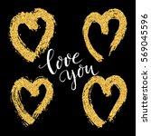 happy valentines day hand...   Shutterstock .eps vector #569045596
