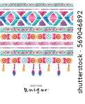 watercolor ethnic card. boho... | Shutterstock . vector #569046892