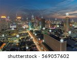 wifi icon and city scape and... | Shutterstock . vector #569057602