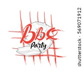 bbq logo. hand drawn vector   Shutterstock .eps vector #569071912