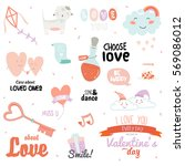vintage love set of valentines... | Shutterstock .eps vector #569086012