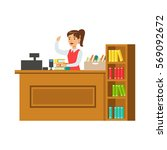 librarian at her workplace with ... | Shutterstock .eps vector #569092672