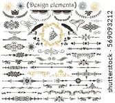 vector set of calligraphic... | Shutterstock .eps vector #569093212