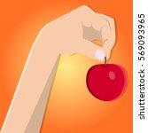 red apple in hand. vector hand....